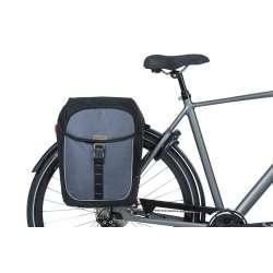 Sacoche BASIL Miles Double Bag Gris Monté Vélo